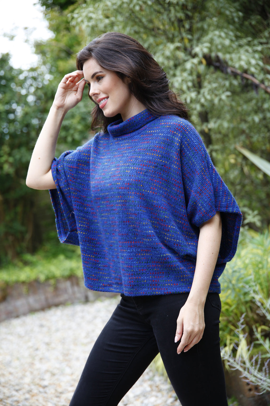 royal blue knitted poncho top