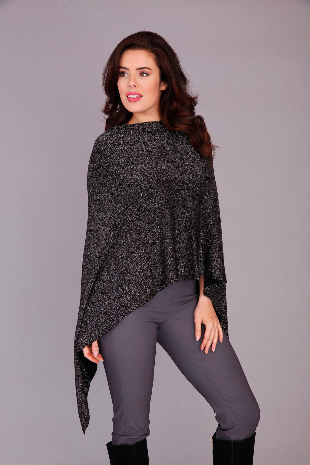 BLACK LUREX PONCHO TOP