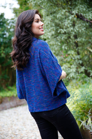 royal blue cowl neck top
