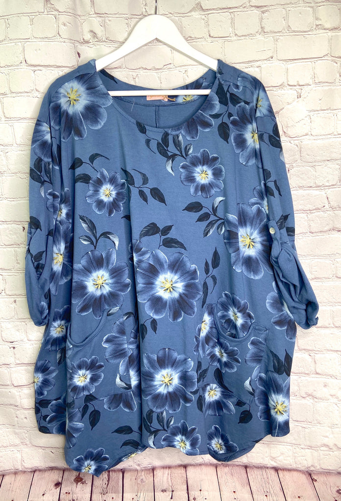 Blue Flower Print Pocket Tunic