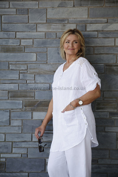 White Linen Lace Tunic