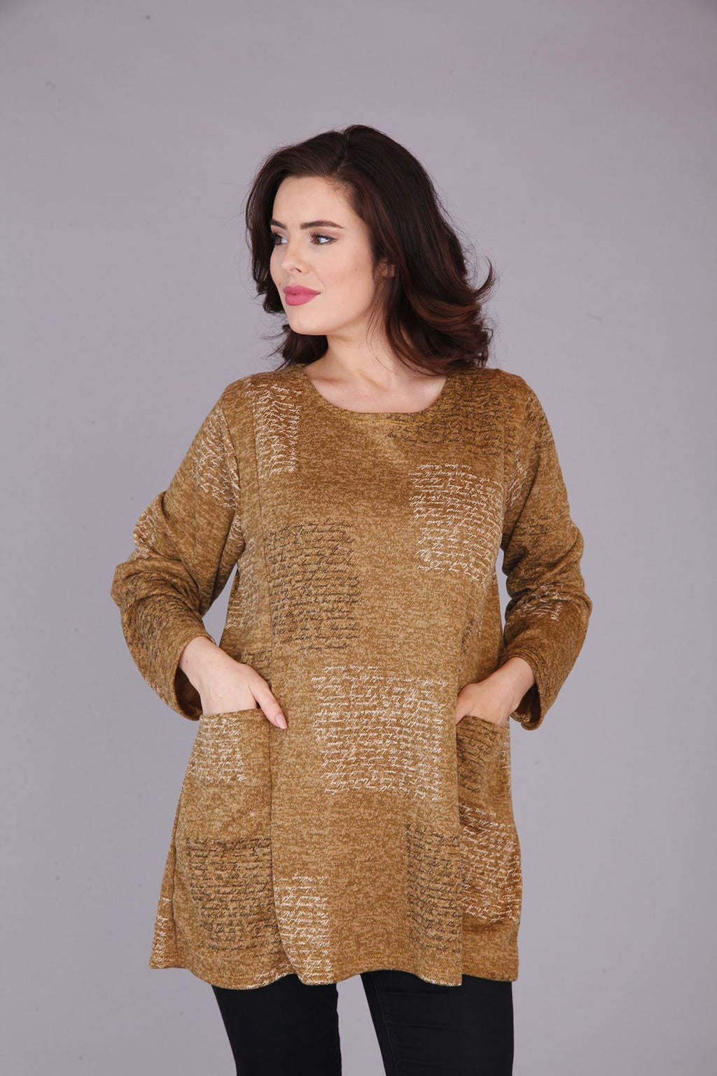 mustard tunic top with pockets