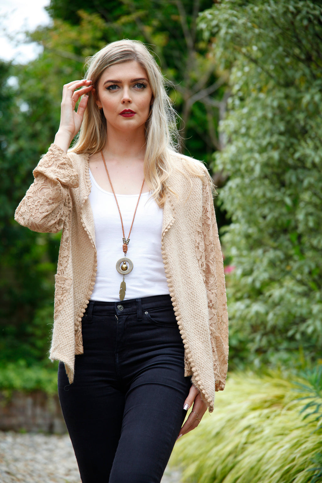 Coffee Lace Back Cardigan - Goose Island