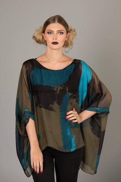 Teal Picasso Print Silk Batwing