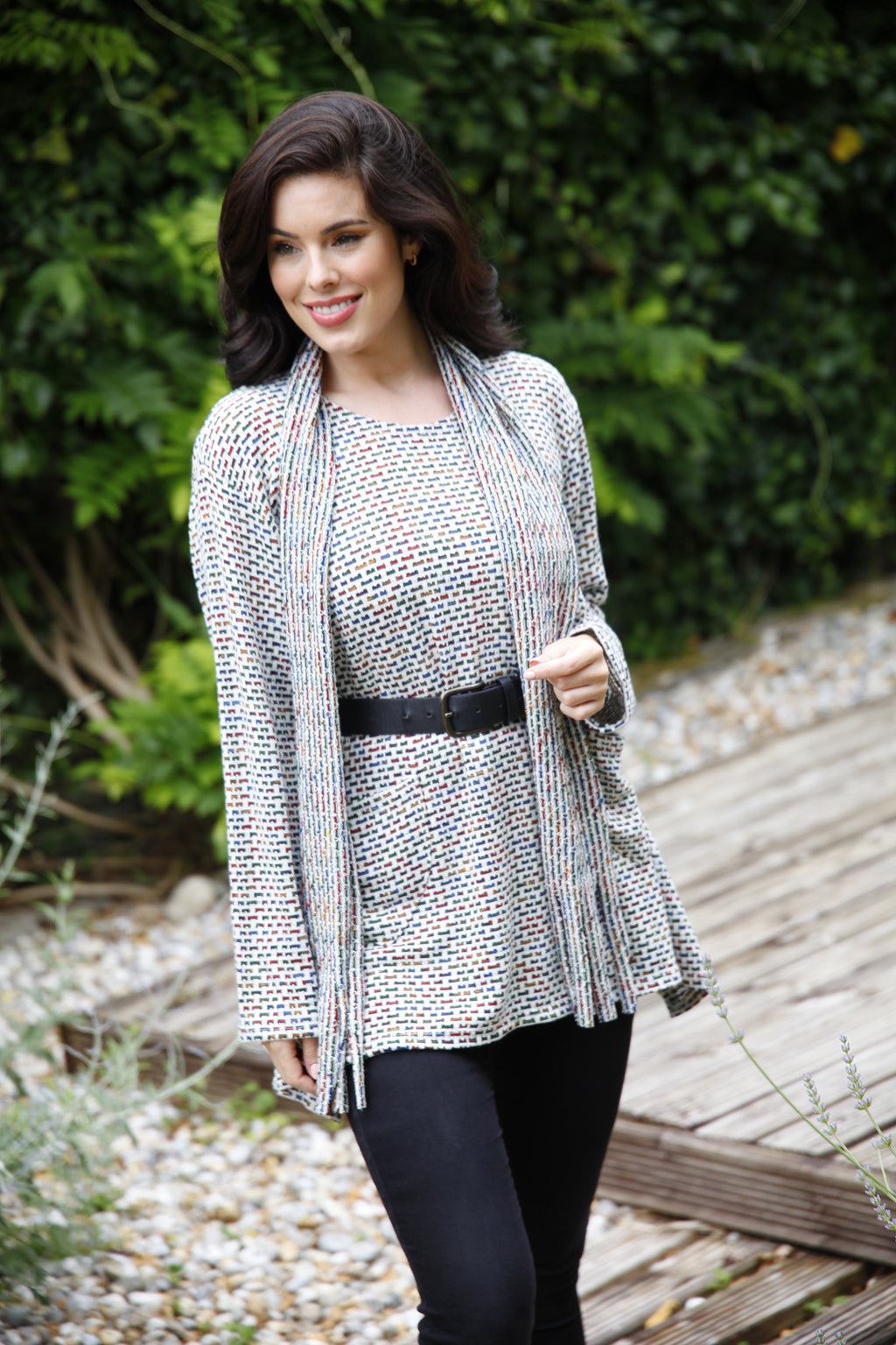 Grey multi coloured knitted tunic top