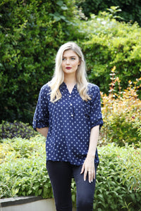 navy star print blouse