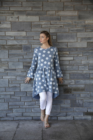 Blue Polka Dress Bell Sleeve