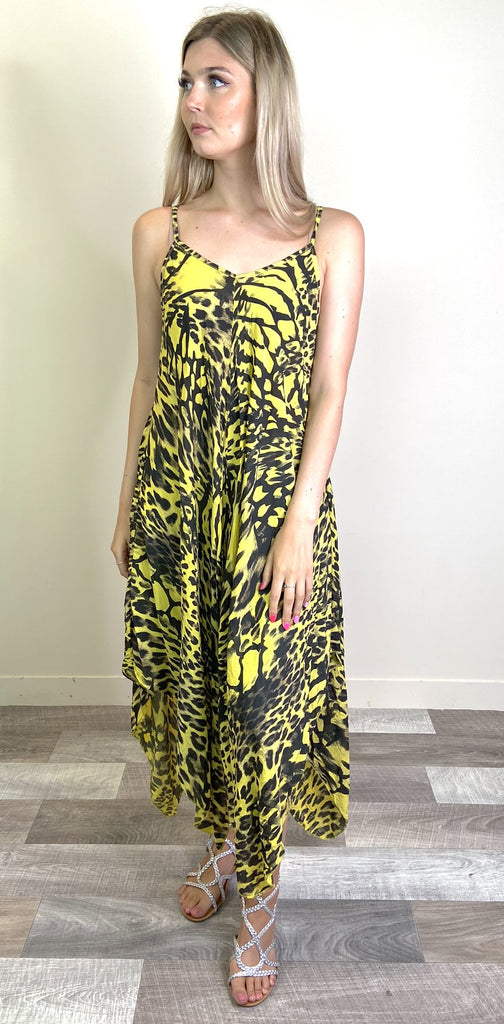 Yellow Leopard Print Handkerchief Dress