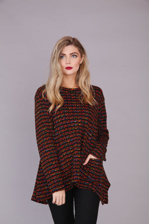 RUST AND MULTI KNIT TOP