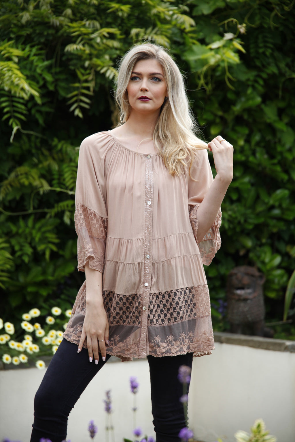 Coffee Lace Tiered Blouse - Goose Island