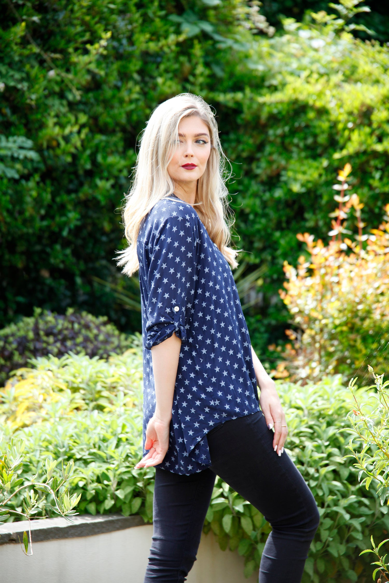 ladies navy blouse with star print