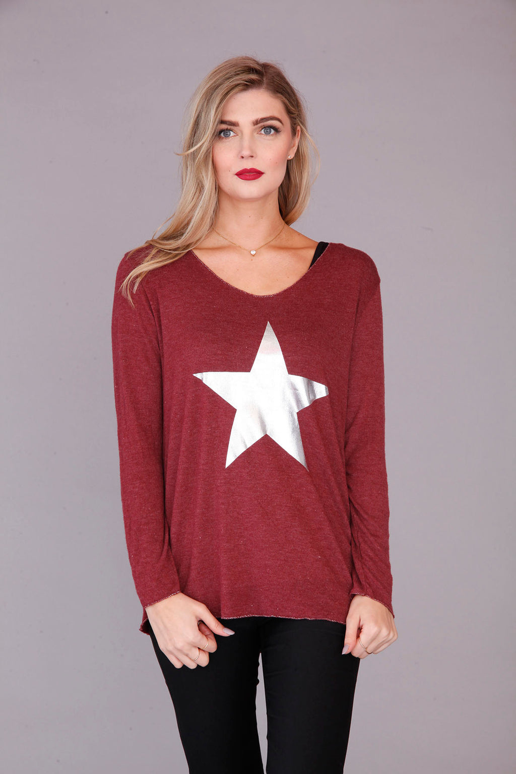 Plum Star Print Top