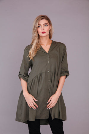 goose island khaki cotton smock top