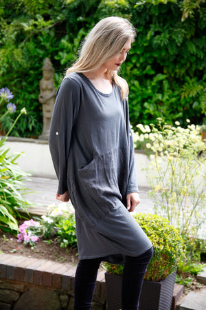 grey cotton and linen dress
