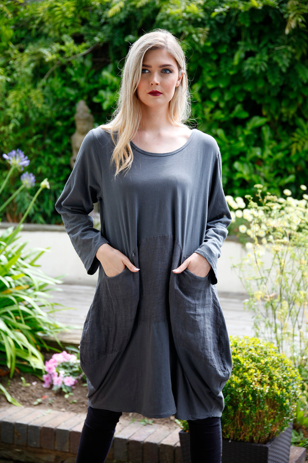 Grey Cotton/linen Panel Dress - Goose Island