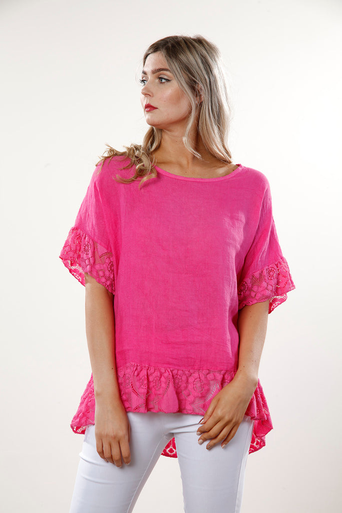 Lace Trim Linen Top - Goose Island