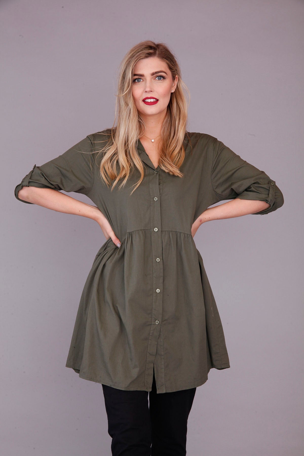 goose island khaki green cotton tunic top