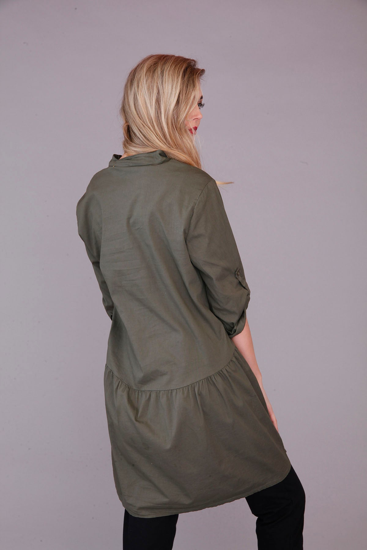 back of khaki tunic top
