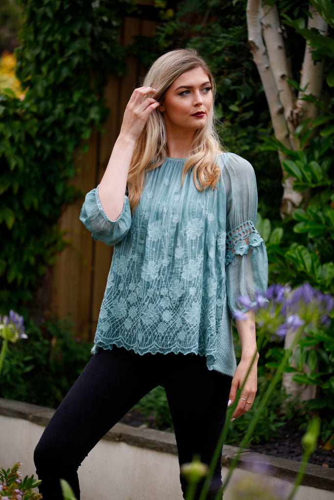 Teal Lace Embroidered Top - Goose Island