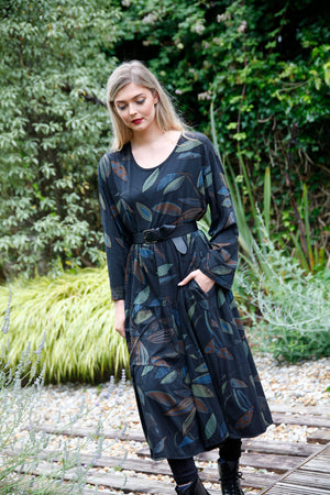 Black Leaf Print Long Dress - Goose Island