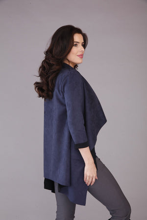 blue faux suede jacket