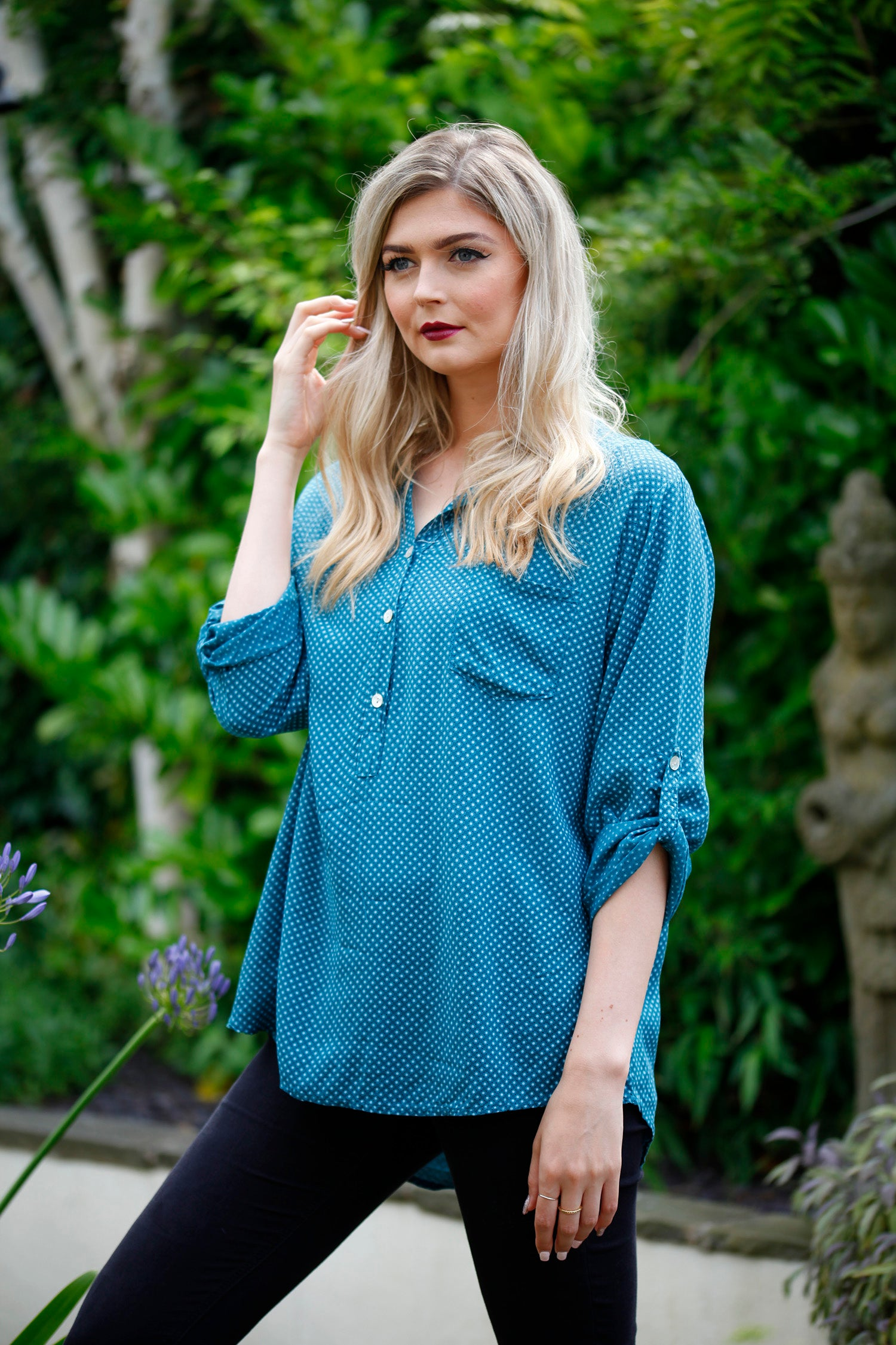 teal blue dotty blouse