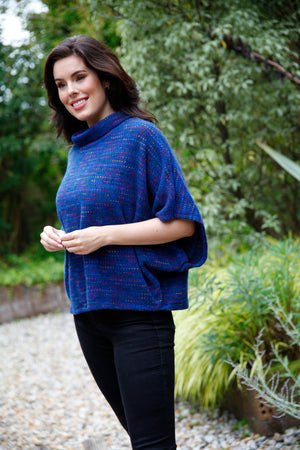 blue cowl neck poncho top