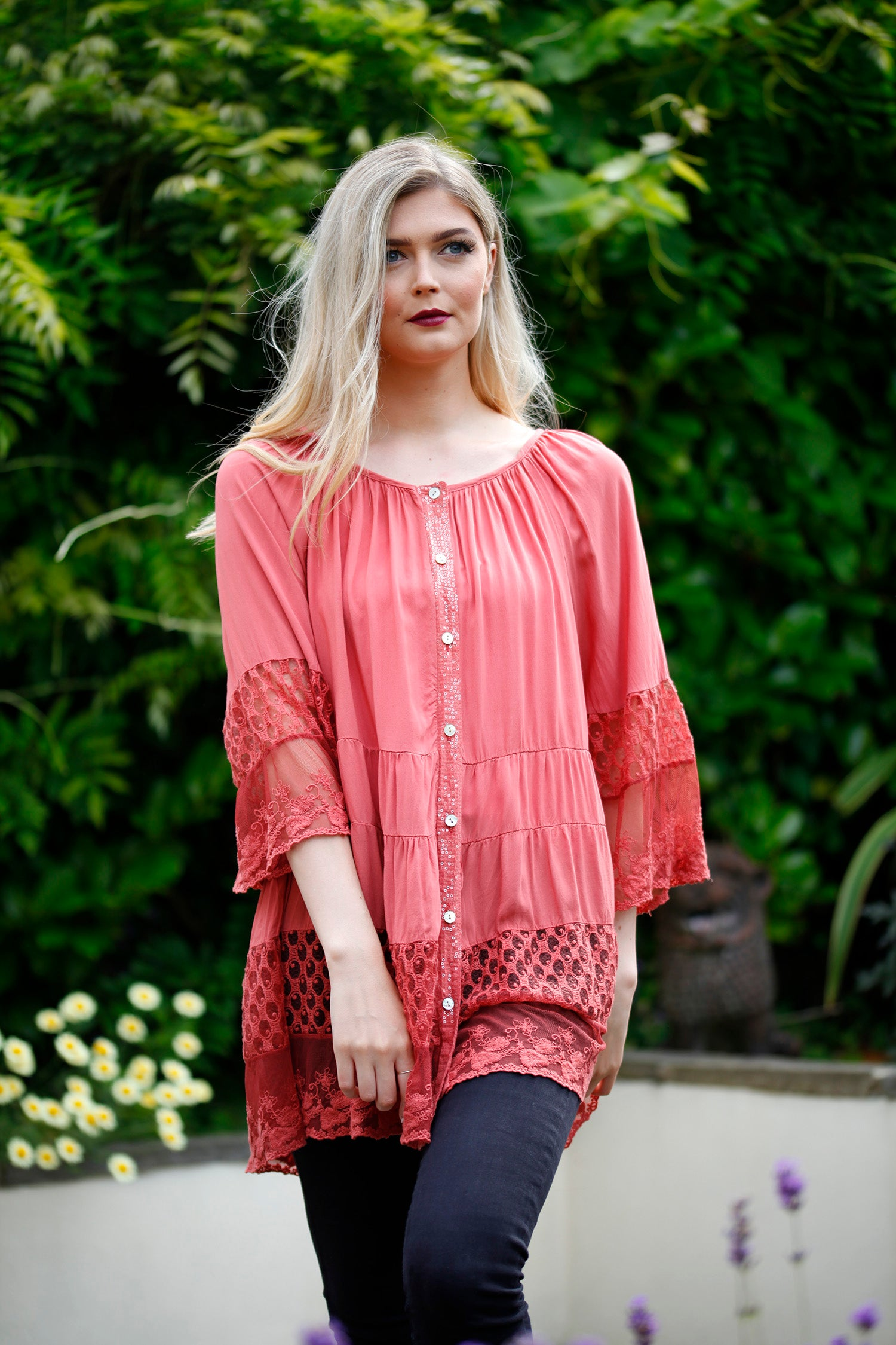 Terracotta Lace Tiered Blouse - Goose Island