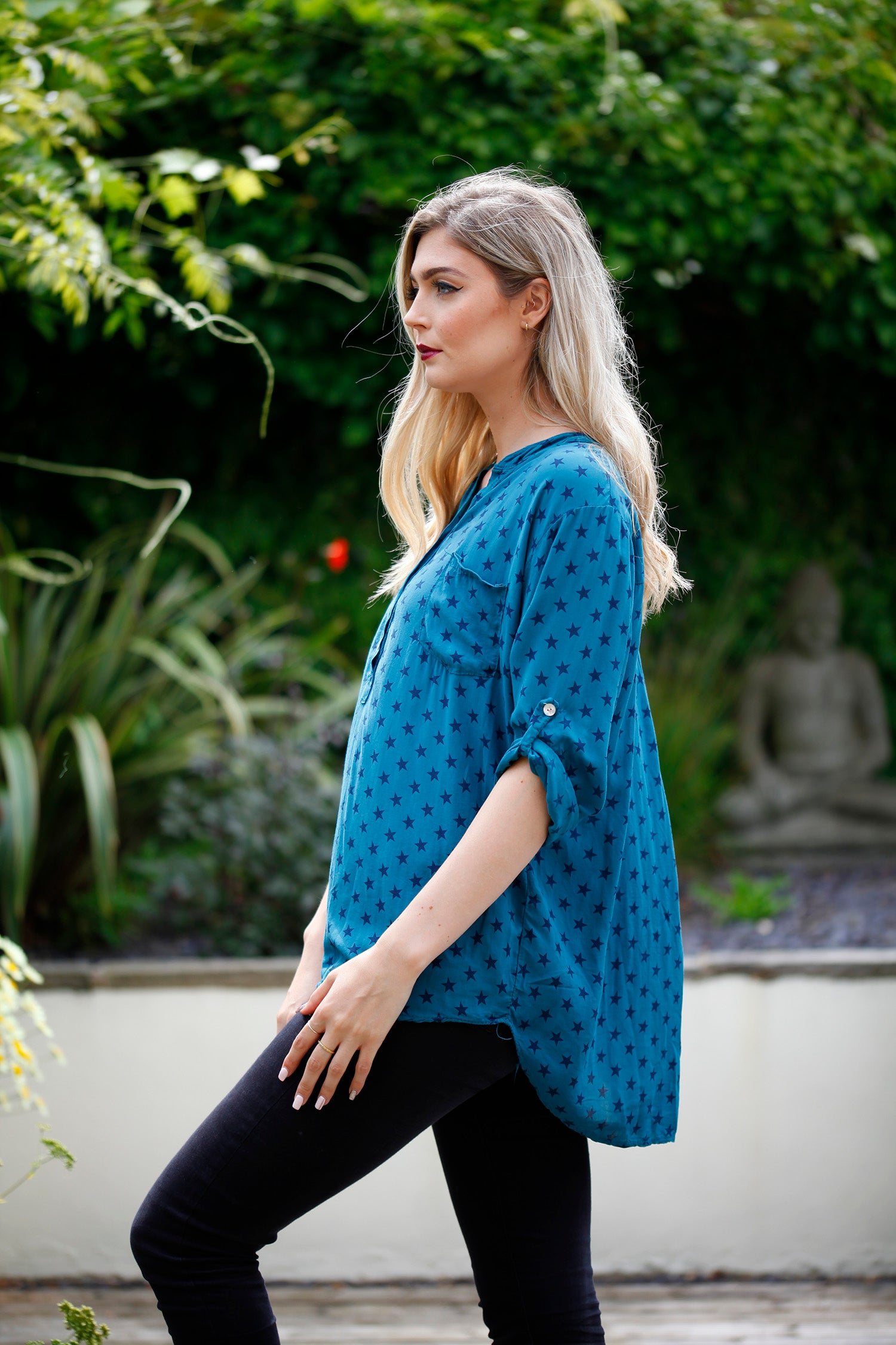 teal star print goose island autumn top