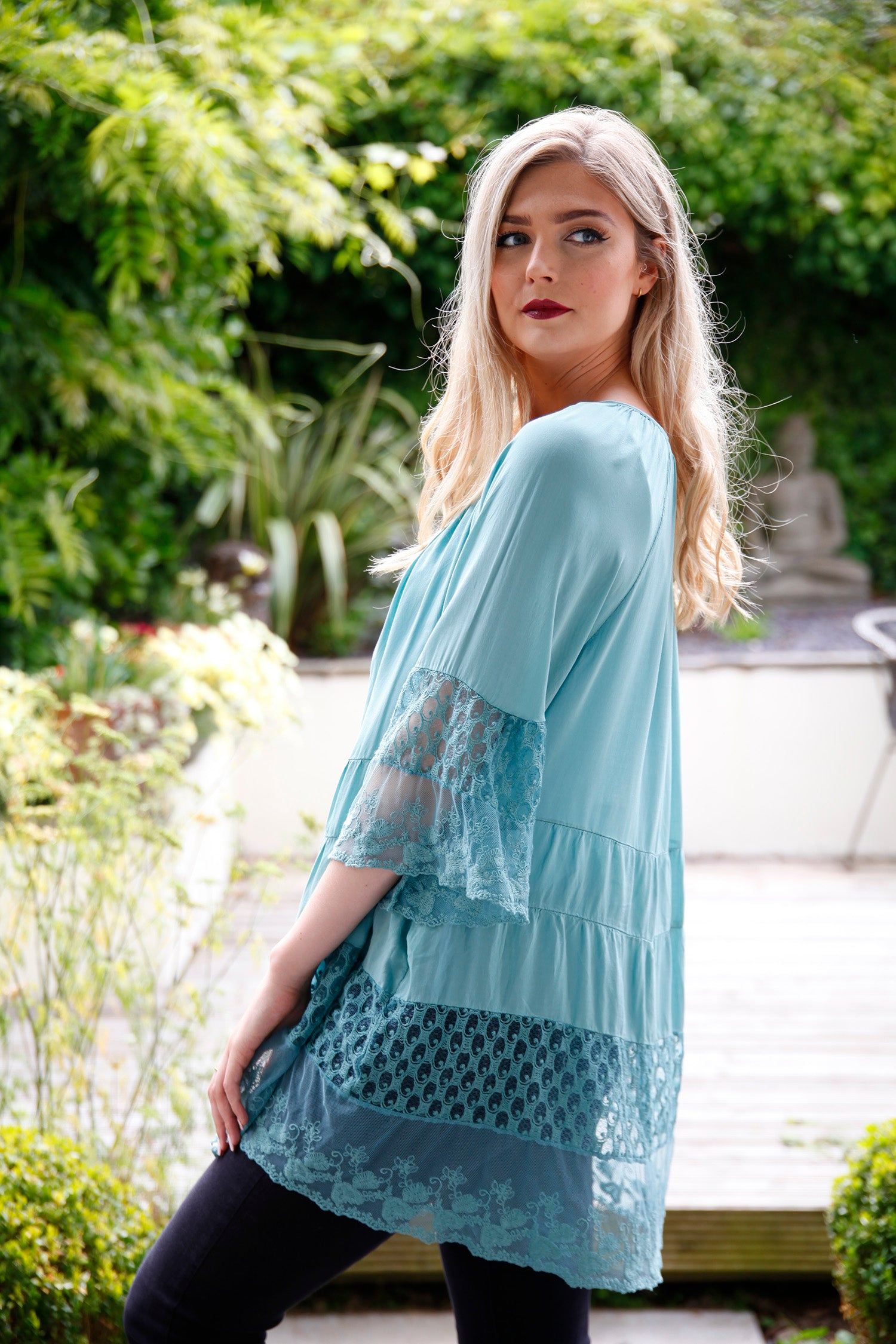 lace teal vintage blouse