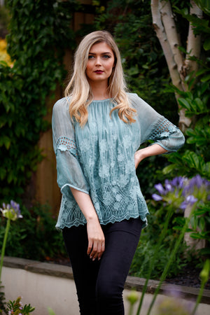 Teal Lace Embroidered Top