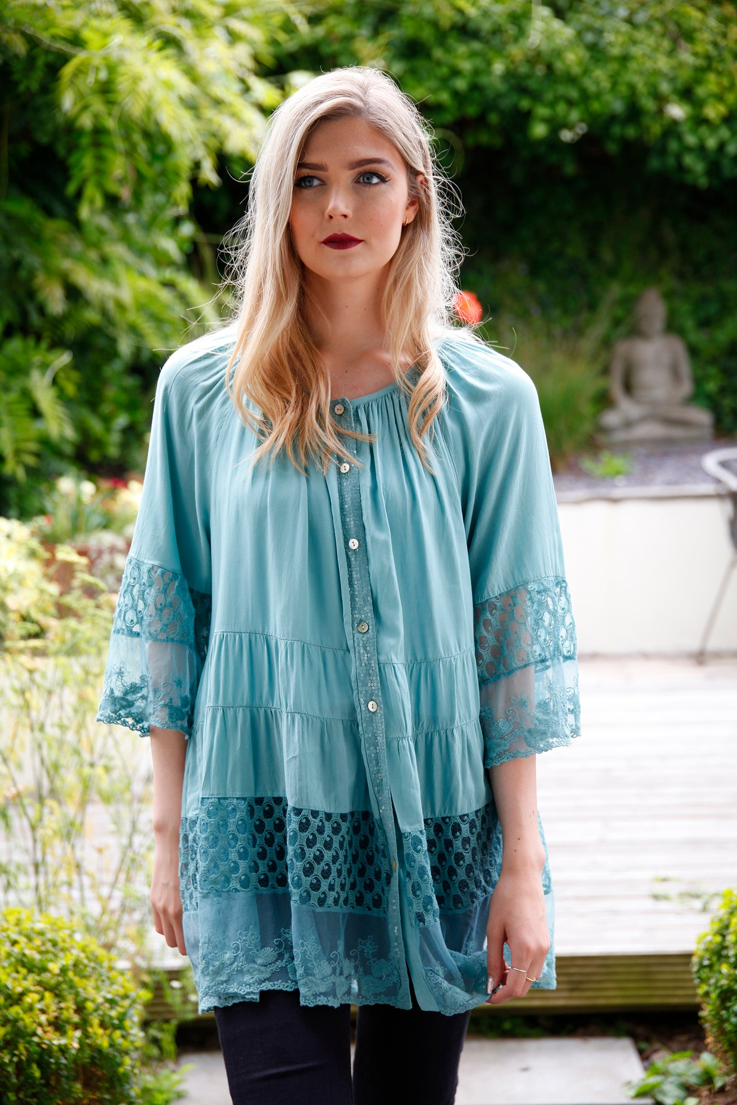 teal lace tiered blouse
