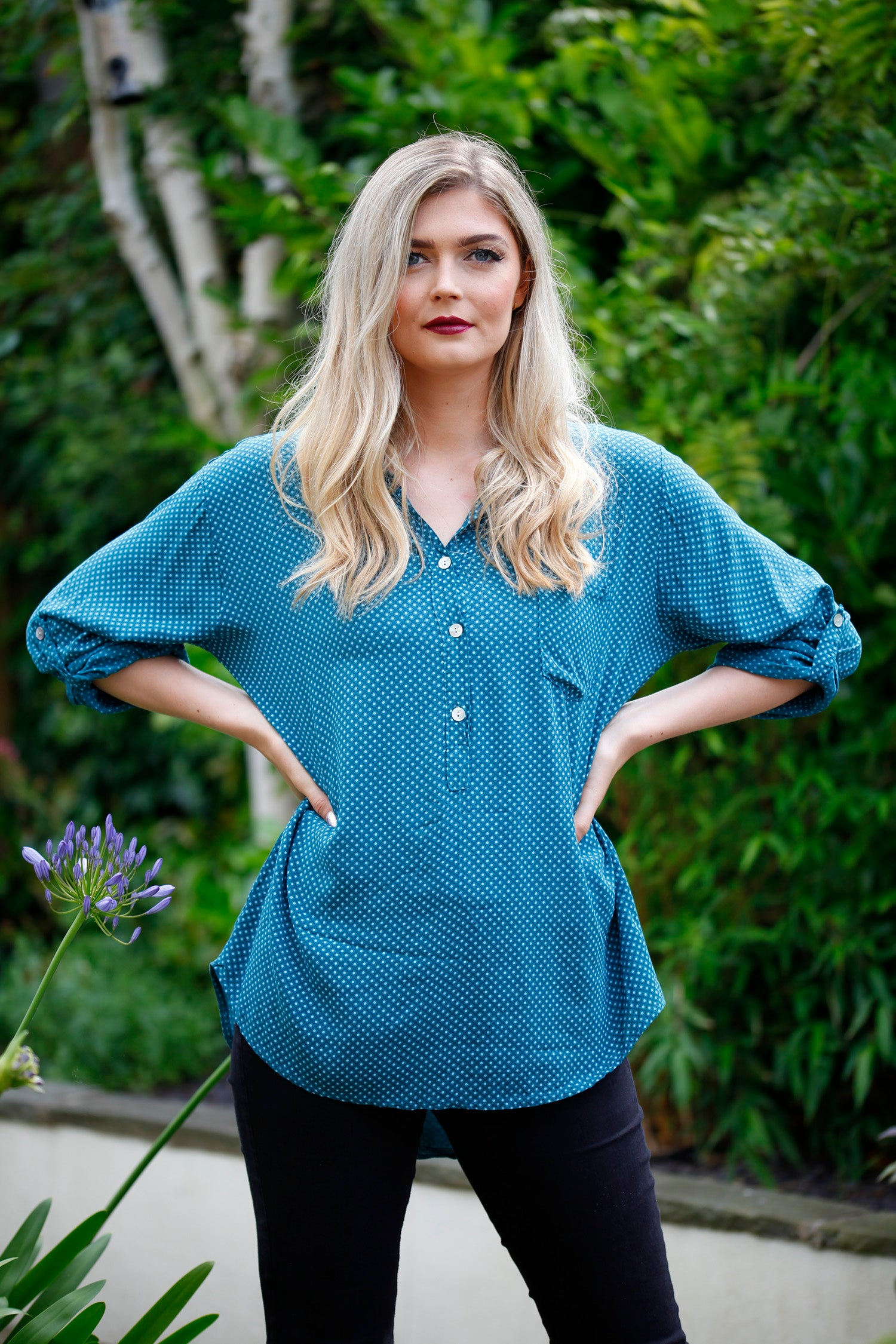 teal polka dot blouse