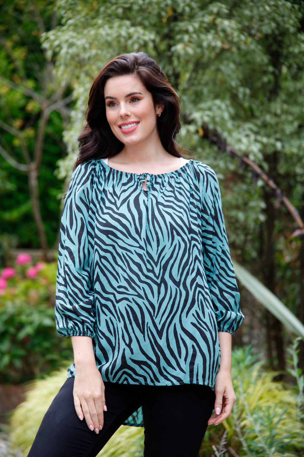 blue zebra print gypsy top