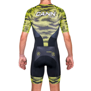 CAMO FLUORO YELLOW ELITE SLEEVED TRI SUIT