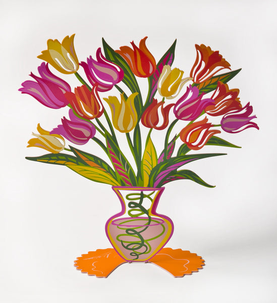 Orange Tulip - small flower metal sculpture -  joyart gallery - 6