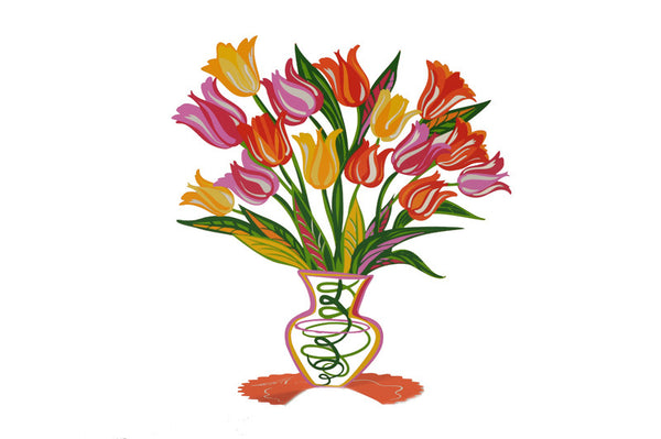 Orange Tulip - flower vase metal sculpture - joyart gallery - 2