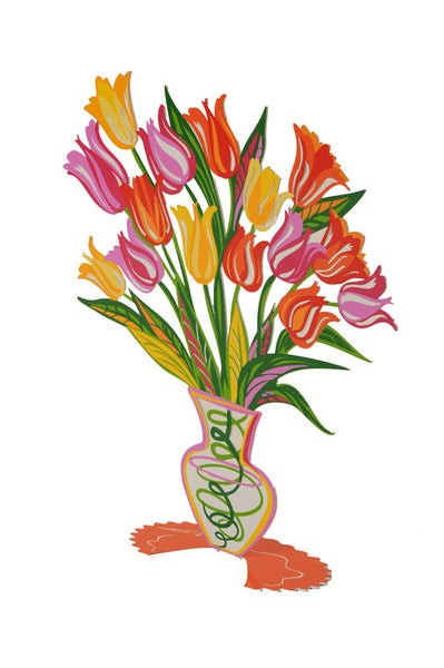 Orange Tulip - flower vase metal art - joyart gallery - 3