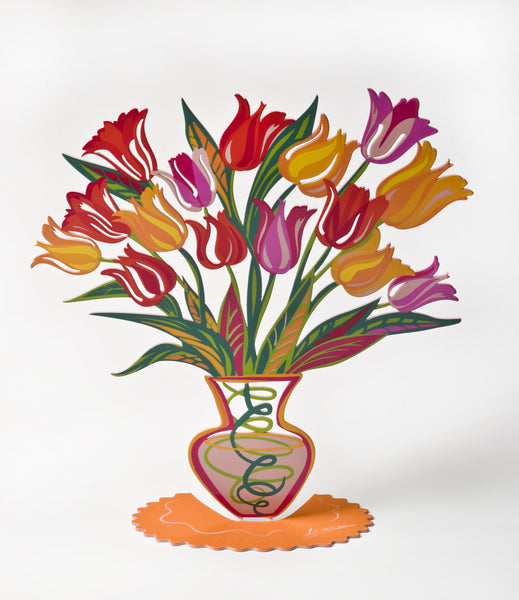 Orange Tulip - flower vase metal art - joyart gallery - 4