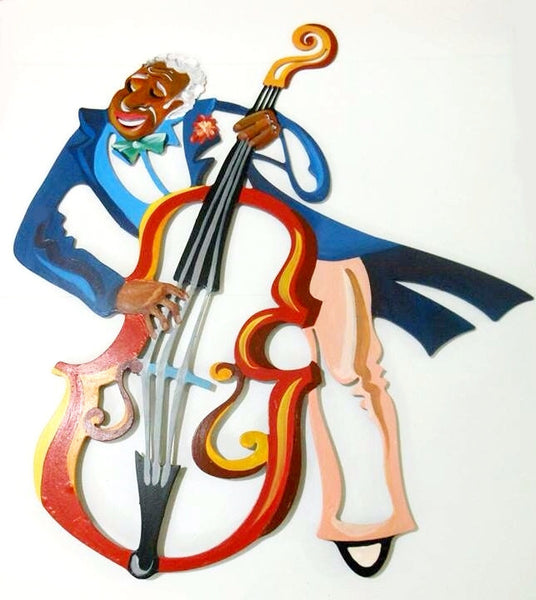 The Bassist - musician metal sculpture -  joyart gallery