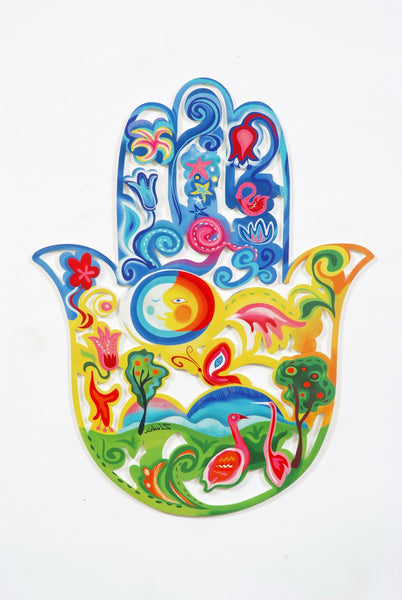The Creation of the World hamsa - metal art Hamsa - Joy Art Gallery
