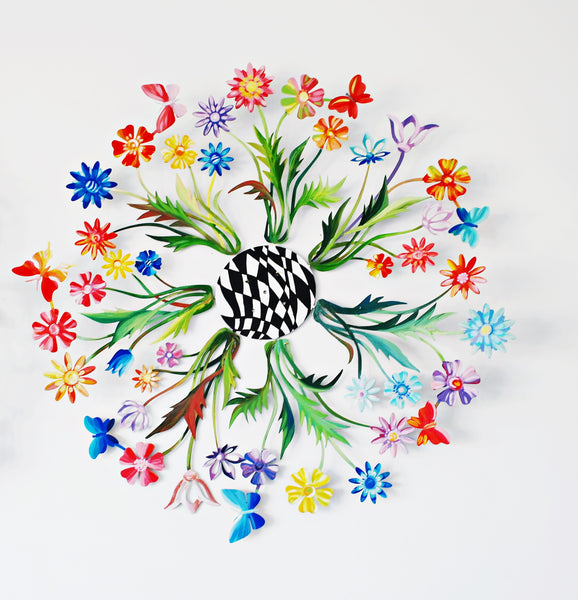 Flowers net-work wall sculpture