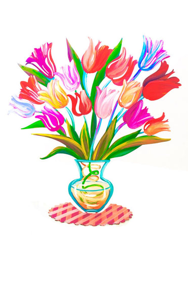 Flowers art, Flowers, Metal Art, Metal Vase, Tulip Flowers, Home Decor, Table Decor, Hand Painted Flowers, Tulips Flower Vase, Flower Vase