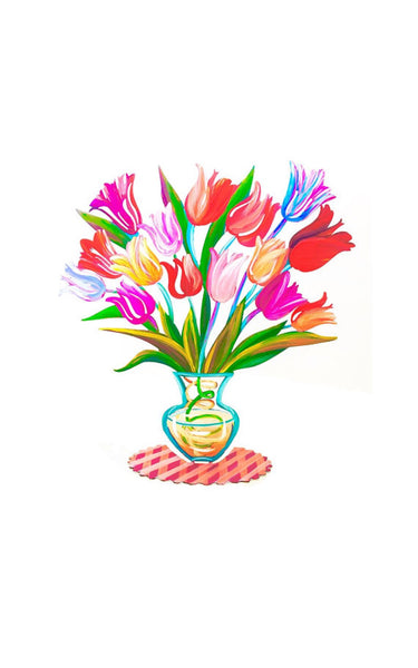 284 & Flowers art Flowers Metal Art Metal Vase Tulip Flowers Home Decor Table Decor Hand Painted Flowers Tulips Flower Vase Flower Vase