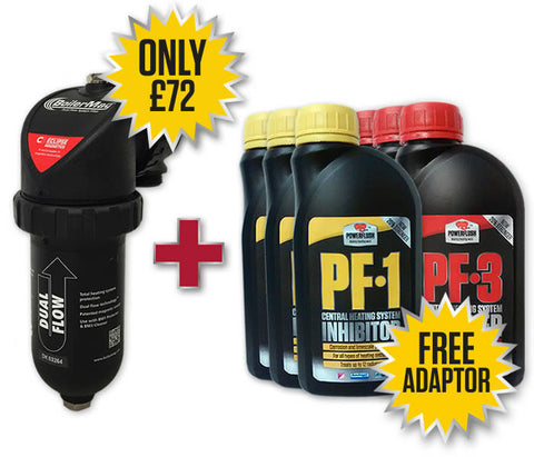 BoilerMag BM22 - Magnet Filter - 22mm, 3 x Powerflush PF-1 Inhibitor & 3 x Powerflush PF-3 Cleaner 500ml