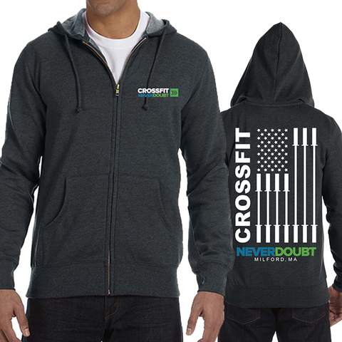 CrossFit NeverDoubt AmericanFlag Men's Full Zip Hoodie