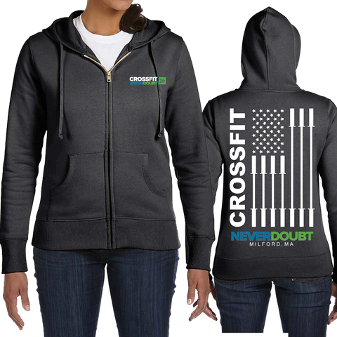 CrossFit NeverDoubt AmericanFlag Ladies Full Zip Hoodie