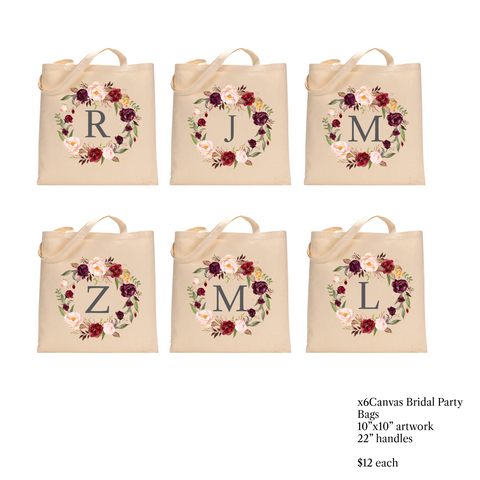 Bridal Party Canvas Tote Bags - Wedding Party Jchenelle13 CUSTOM LINK