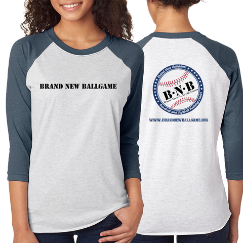 BNB Front & Back Baseball Raglan 3/4 Sleeve T-Shirt