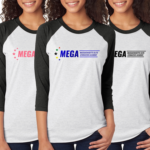 MEGA Baseball Raglan 3/4 Sleeve T-Shirt *ADULT & YOUTH SIZES AVAILBLE*